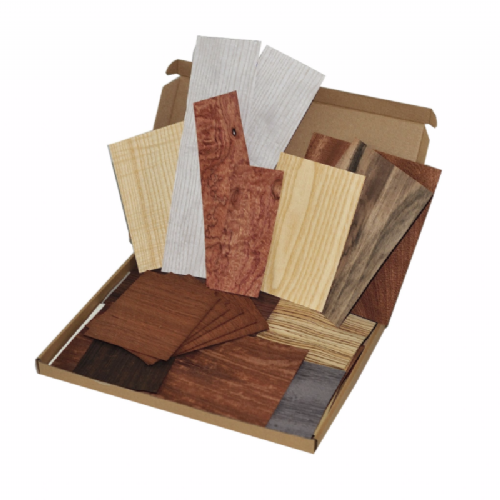 Box of wood veneer offcuts.